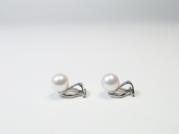 585er goldene Ohrclips mit runden  Perlen höchster Qualität, 8-9 mm