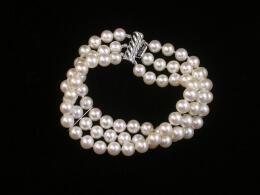 Dreireihiges Perlenarmband, AAA, 6,5-7mm