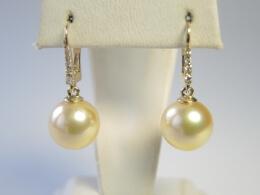 Goldene Südseeperlen Diamant Ohrhänger, 10-11mm, AAA
