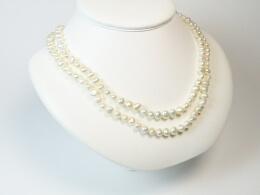 Kette aus barocken weißen Perlen, 100cm