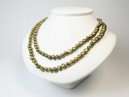Kette aus barocken bronzefarbenen Perlen, 100cm