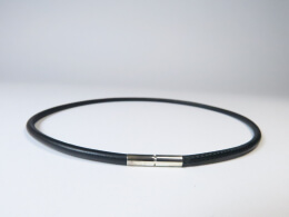 Lederkette mit Bajonettverschluss aus  Sterling Silber