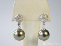 Diamant Clip-Stecker mit glanzvollen Tahitiperlen höchster Qualität