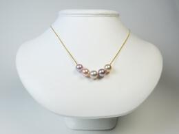 18kt. Gelbgoldkette mit 5 glanzvollen Perlen