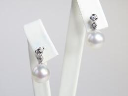 Stecker mit 2 Diamanten und weißer Südseeperle