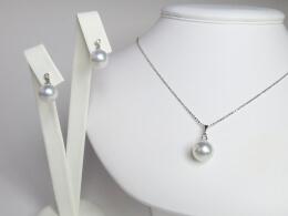 Glanzvolles Set aus Südseeperlen Anhänger und Ohrringen mit kleinem Diamant
