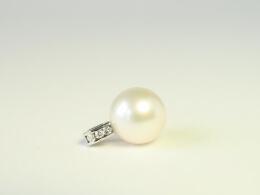 Großer weißer Ming Perlen Anhänger höchster Qualität, 13mm, AAA