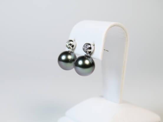 Ohrringe mit Tahitiperle und Diamant