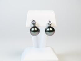 HängendeTahitiperlen an schönen Diamantohrsteckern, 10-10,5mm, AAA