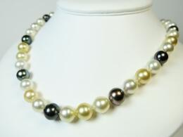 Südsee Perlenkette in weiß, gold und grau, 9-11,7mm, AA+