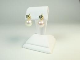 HängendeAkoyaperlen an schönen Diamantohrsteckern,  AAA