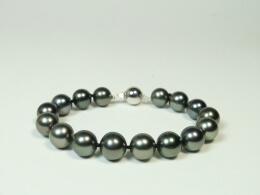 Tahiti Armband mit dunkelgrauen, runden, Perlen,  AA+