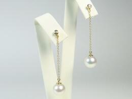 Südseeperlen an Diamantsteckern mit Goldkettchen
