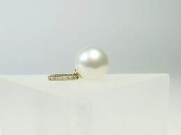 Diamant Südseeperlen Anhänger in Gelbgold, 11,7mm,AAA