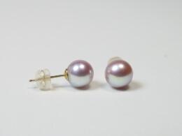 Runde Perlen Ohrstecker in Lavendel, 7,5-8mm, AAA