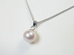 Goldanhänger mit runder Perle in weiß, AAA, 9,5-10mm