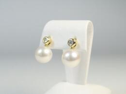Hängende Perlen an Diamantohrsteckern,  AAA