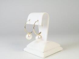Offene Creolen mit weißen Perlen, 9,5-10mm, AAA