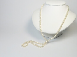 85 cm lange weiße Perlenkette, 5,5-6,4mm, AA+