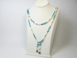 150cm lange Kette mit Türkis und weißen Perlen