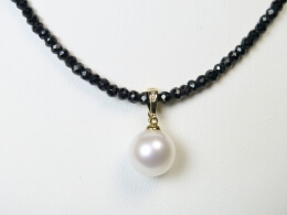 Runde weiße Perle mit Clipanhänger, 10,5-11, AAA