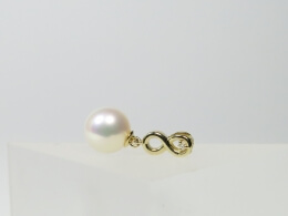 585er Goldanhänger mit glanzvoller Perle, AAA, 9,5-10mm