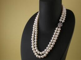 Zweireihige Perlenkette, 7,5-8mm, AAA