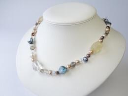 Wunderschöne Kette: Perlen, Mabé und Citrin