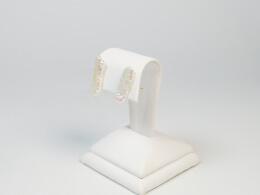 Glänzende weiße Drachenzahn-Perlenohrstecker, 14kt.Gelbgold