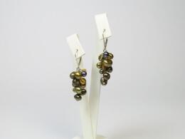Ohrringe mit Perlen, Granat und Quarz