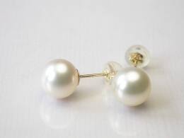 Runde, weiße Perlen Ohrstecker, 7,5-8 mm, AAA-Qualität