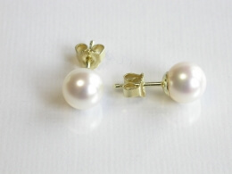 Runde, weiße Perlen Ohrstecker, 8-9 mm, AAA-Qualität