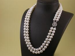 Perlenkette, zweireihig, 8-8,5mm, AAA