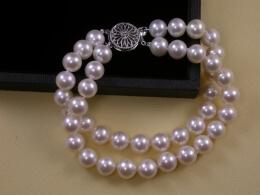 Perlenarmband, zweireihig, 8-8,5mm, AAA