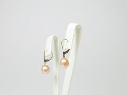 Goldohrhänger mit pfirsichfarbenen Perlen, 9-10mm