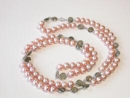 Schöne Perlen mit gefasstem Labradorit, 8,5-9,5mm,  109 cm