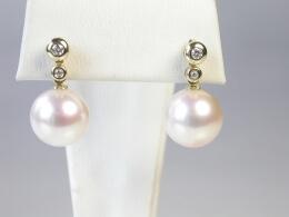 Stecker mit 2 Diamanten und schöner Perle