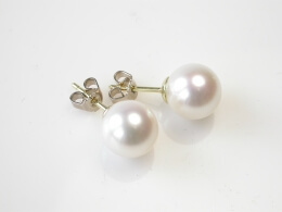 Runde, weiße Perlen Ohrstecker, 10-10,5 mm, AAA-Qualität