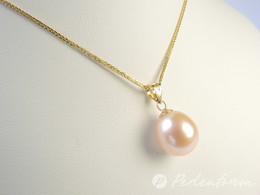 Goldanhänger mit pfirschfarbener Perle, 9,5-10 mm