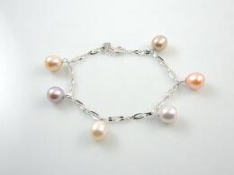 18kt. Weißgold Armband mit Perlenanhängern höchster Qualität