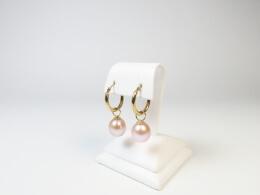 Perleneinhängerpaar für Creolen in rosé, 10-11mm