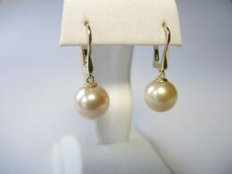 Schöne Perlenohrhänger mit goldenen Südseeperlen höchster Qualität, 10-10,5 mm