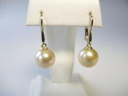 Perlenohrhänger mit goldenen Südsee Perlen, 10-10,5 mm, AAA
