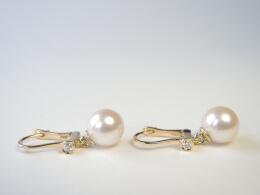 Glanzvolle Akoyaperlen Diamant Ohrhänger, AAA, 8-9mm