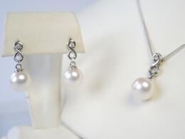 Glanzvolles Perlenset, Anhänger und Ohrringe,9mm, AAA